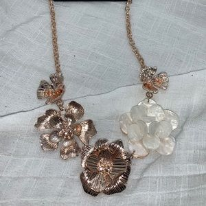 New York & Co. Rose Gold & White Fashion Necklace
